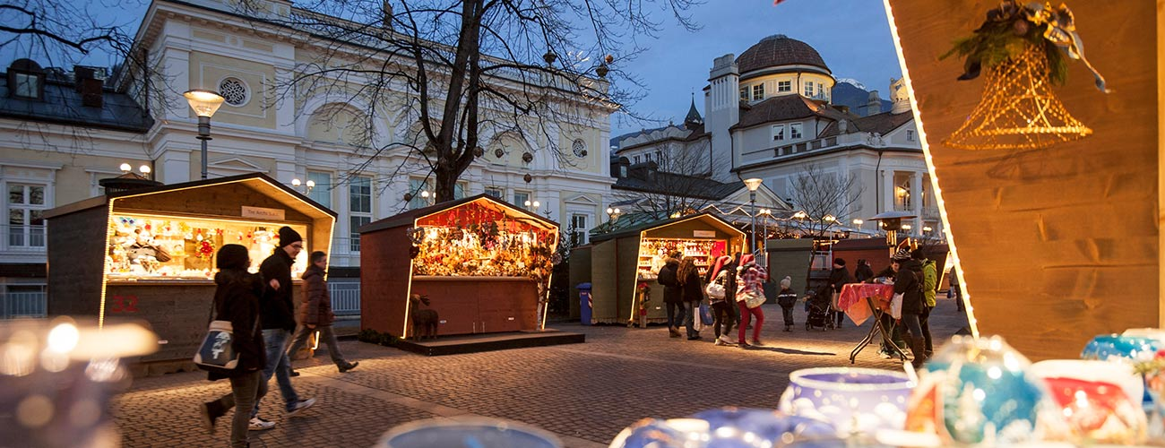 The houses of the Christmas Market of Merano