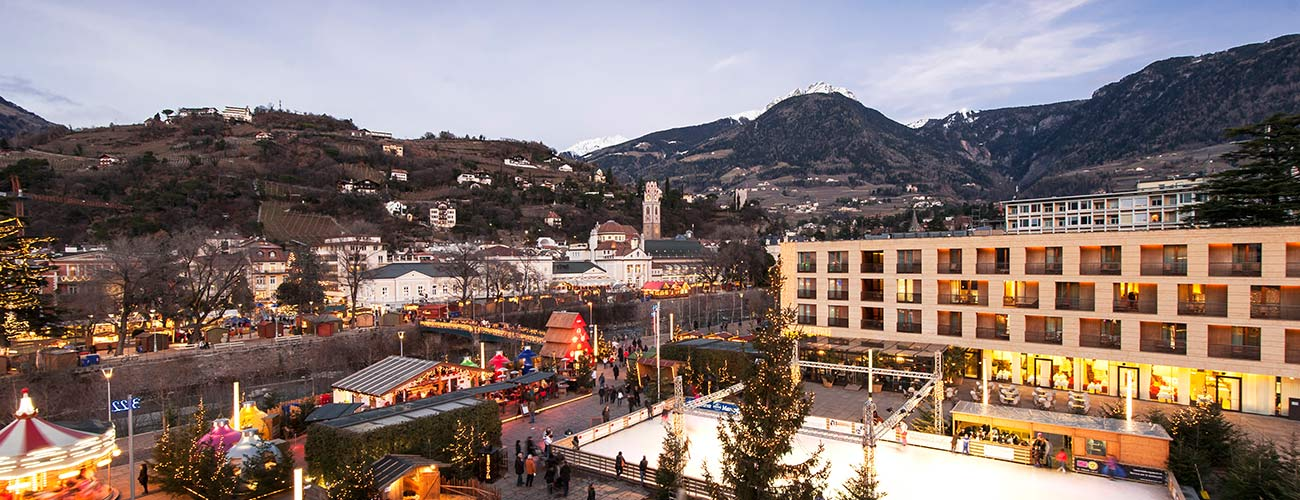 The square of the city of Merano during the Christmas Markets